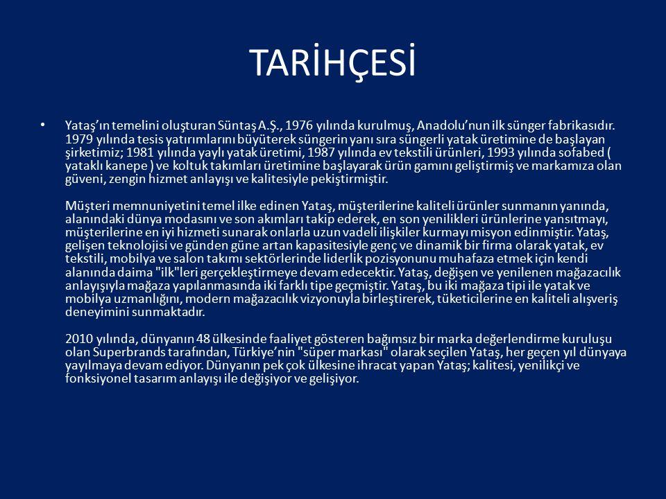 TARİHÇESİ Yataş'ın temelini oluşturan Süntaş A.Ş., 1976 yılında kurulmuş, Anadolu'nun ilk sünger fabrikasıdır. 1979 yılında tesis yatırımlarını büyüte