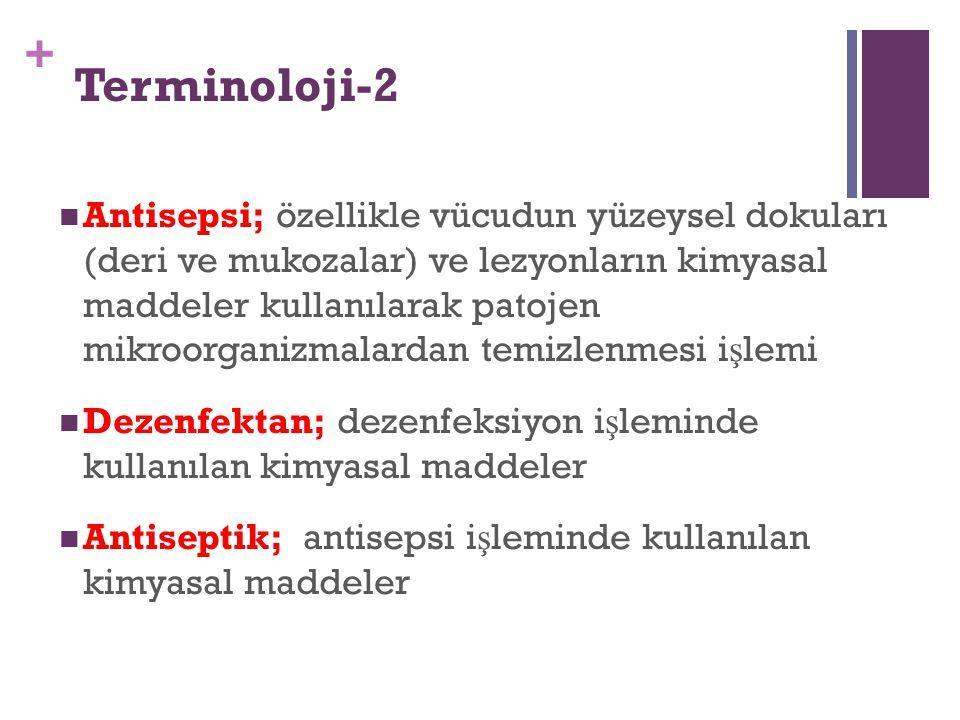 + Terminoloji-2 Antisepsi; özellikle vücudun yüzeysel dokuları (deri ve mukozalar) ve lezyonların kimyasal maddeler kullanılarak patojen mikroorganizm