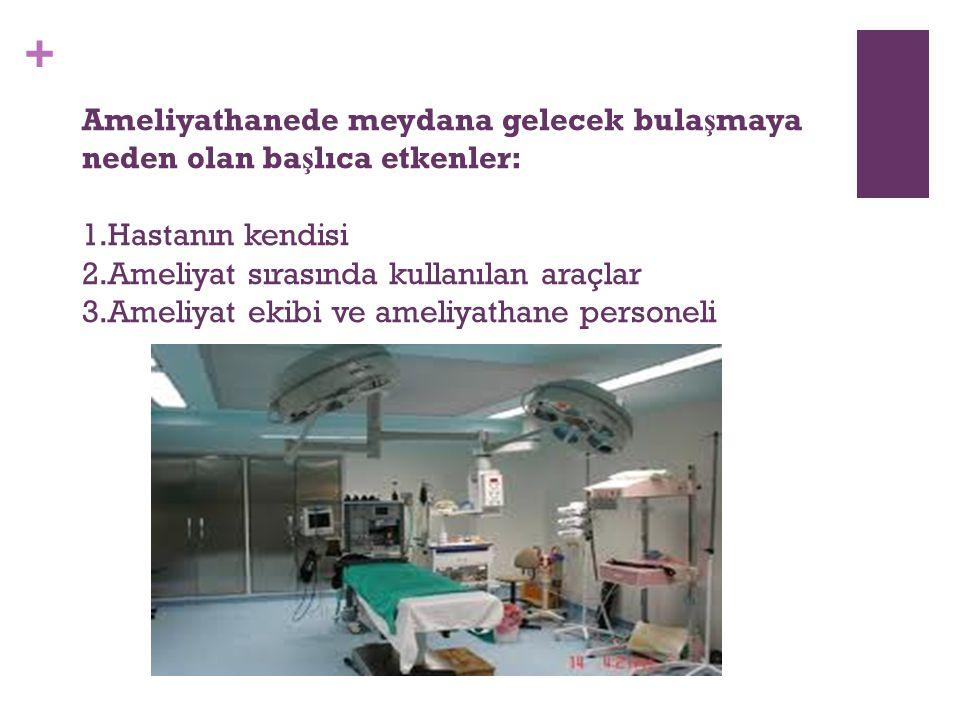 + Ameliyathanede meydana gelecek bula ş maya neden olan ba ş lıca etkenler: 1.Hastanın kendisi 2.Ameliyat sırasında kullanılan araçlar 3.Ameliyat ekib