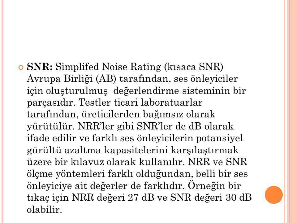 SNR: Simplifed Noise Rating (kısaca SNR) Avrupa Birliği (AB) tarafından, ses önleyiciler için oluşturulmuş değerlendirme sisteminin bir parçasıdır. Te