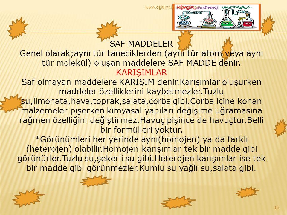 SAF MADDELER Genel olarak;aynı tür taneciklerden (aynı tür atom veya aynı tür molekül) oluşan maddelere SAF MADDE denir. KARIŞIMLAR Saf olmayan maddel