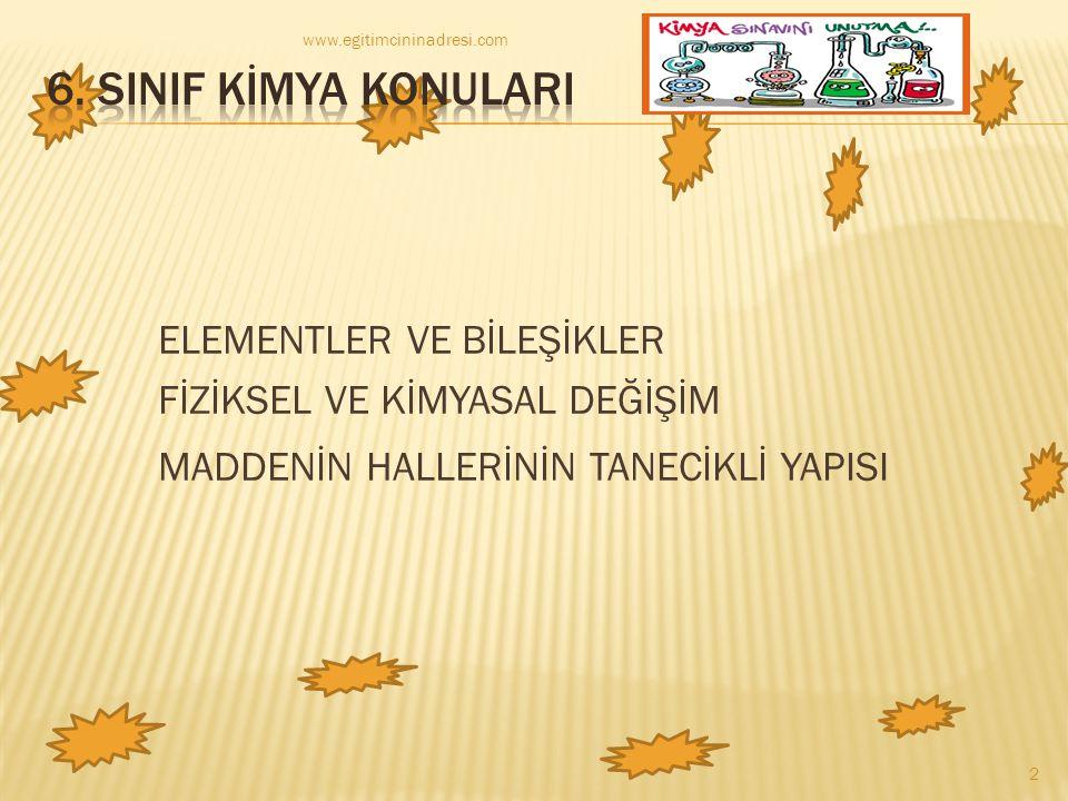 ELEMENTLER VE BİLEŞİKLER FİZİKSEL VE KİMYASAL DEĞİŞİM MADDENİN HALLERİNİN TANECİKLİ YAPISI www.egitimcininadresi.com 2