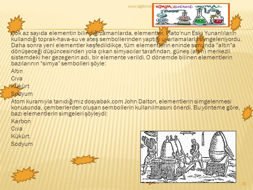 Çok az sayıda elementin bilindiği zamanlarda, elementler, Plato'nun Eski Yunanlıların kullandığı toprak-hava-su ve ateş sembollerinden yaptığı uyarlam