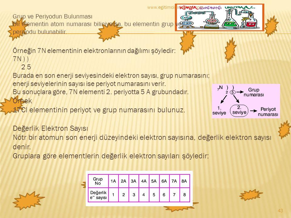 Grup ve Periyodun Bulunması Bir elementin atom numarası biliniyorsa, bu elementin grup ve periyodu bulunabilir. Örneğin 7N elementinin elektronlarının