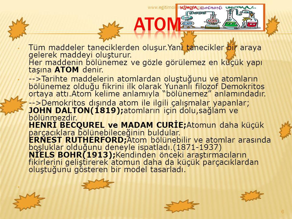 DALTON ATOM TEORİSİ Kimyasal birleşmenin yukarıdaki iki yasasından yararlanan John Dalton 1803 - 1808 tarihleri arasında bir atom kuramı geliştirdi.Dalton Kütlenin Korunumu Yasası ve Sabit Oranlar Yasasından yola çıkarak maddeyi oluşturan ve onun bütün özelliklerini gösteren çok küçük parçacıkların olduğu yorumunu yaparak Katlı Oranlar Kanunu'nu ortaya atmıştır: Katlı Oranlar Kanunu, iki element birden fazla bileşik oluşturuyorsa, birinin belli bir miktarına karşılık, diğerinin değişken miktarları arasında küçük ve tam sayılarla ifade edilen bir oran vardır, şeklinde tanımlanabilir.