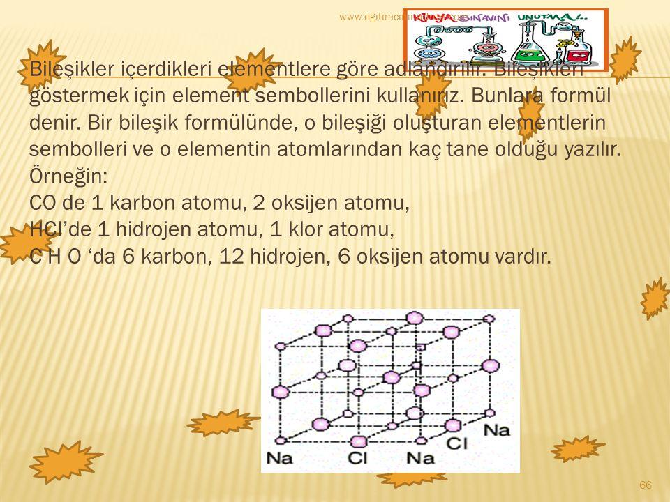 Bileşikler içerdikleri elementlere göre adlandırılır. Bileşikleri göstermek için element sembollerini kullanırız. Bunlara formül denir. Bir bileşik fo