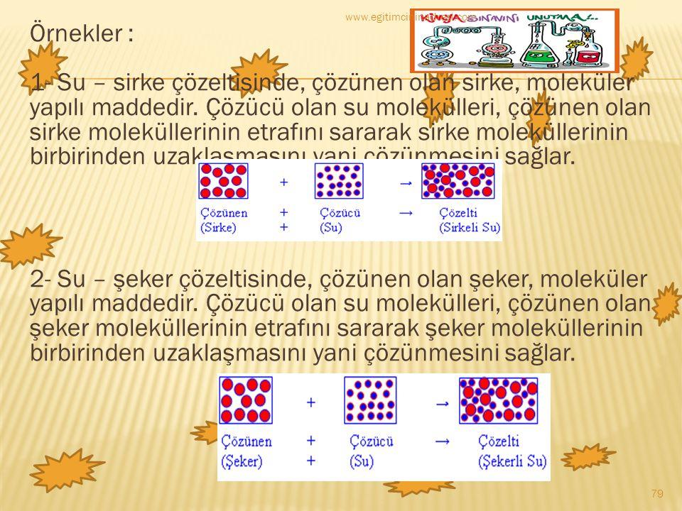 Örnekler : 1- Su – sirke çözeltisinde, çözünen olan sirke, moleküler yapılı maddedir. Çözücü olan su molekülleri, çözünen olan sirke moleküllerinin et