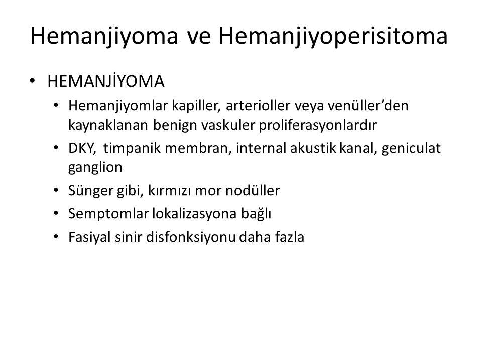 Hemanjiyoma ve Hemanjiyoperisitoma HEMANJİYOMA Hemanjiyomlar kapiller, arterioller veya venüller'den kaynaklanan benign vaskuler proliferasyonlardır D