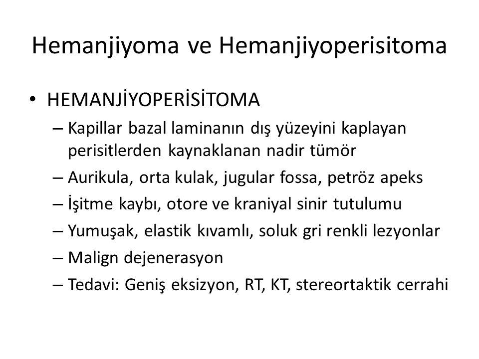 Hemanjiyoma ve Hemanjiyoperisitoma HEMANJİYOPERİSİTOMA – Kapillar bazal laminanın dış yüzeyini kaplayan perisitlerden kaynaklanan nadir tümör – Auriku