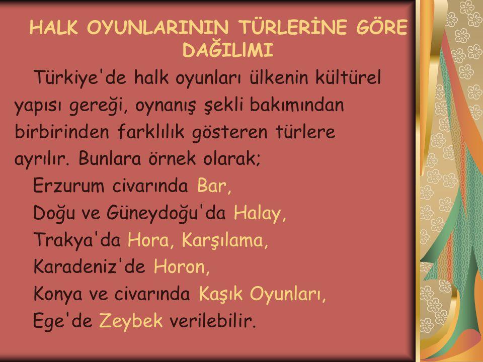 HALK OYUNLARININ TÜRLERİNE GÖRE DAĞILlMI Türkiye'de halk oyunları ülkenin kültürel yapısı gereği, oynanış şekli bakımından birbirinden farklılık göste
