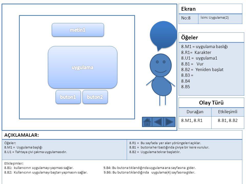 Ekran No:9 İsim: Uygulama(3) Öğeler 9.M1 = uygulama baslığı 9.R1= Karakter 9.U1 = uygulama2 9.B1 = Yürü 9.B1 = Ayakkabı seç 9.B3 = Yeniden başlat 9.B4 = uygulama sayfası 9.B5 = geri 9.B6 = ileri Olay Türü DurağanEtkileşimli 9.M1, 9.R1 9.B1, 9.B2, 9.B3, 9.B4, 9.B5, 9.B6 AÇIKLAMALAR: Öğeler: 9.M1 = Uygulama başlığı 9.U1 = Karda yürümeye çalışmak.