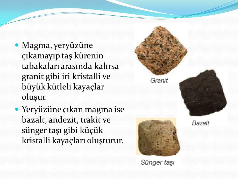 Magma, yeryüzüne çıkamayıp taş kürenin tabakaları arasında kalırsa granit gibi iri kristalli ve büyük kütleli kayaçlar oluşur.
