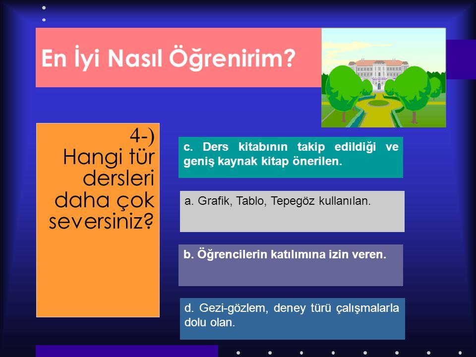 Dersimiz.Com En İyi Nasıl Öğrenirim? 4-) Hangi tür dersleri daha çok seversiniz? d. Gezi-gözlem, deney türü çalışmalarla dolu olan. b. Öğrencilerin ka
