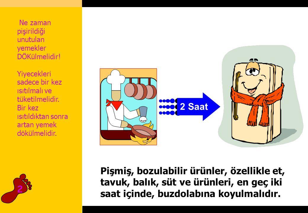 2 Saat Pişmiş, bozulabilir ürünler, özellikle et, tavuk, balık, süt ve ürünleri, en geç iki saat içinde, buzdolabına koyulmalıdır.