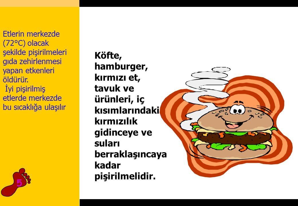2hours Köfte, hamburger, kırmızı et, tavuk ve ürünleri, iç kısımlarındaki kırmızılık gidinceye ve suları berraklaşıncaya kadar pişirilmelidir.