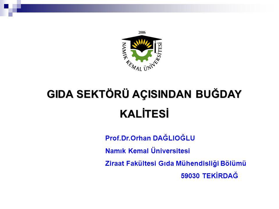 Prof.Dr.Orhan DAĞLIOĞLU Namık Kemal Üniversitesi Ziraat Fakültesi Gıda Mühendisliği Bölümü 59030 TEKİRDAĞ GIDA SEKTÖRÜ AÇISINDAN BUĞDAY KALİTESİ