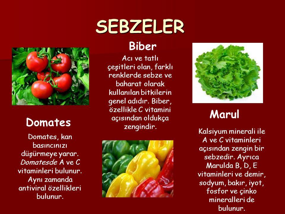 SEBZELER Domates, kan basıncınızı düşürmeye yarar. Domatesde A ve C vitaminleri bulunur. Aynı zamanda antiviral özellikleri bulunur. Acı ve tatlı çeşi