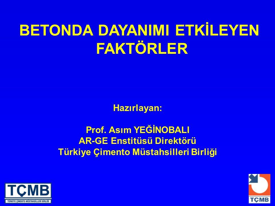BETONDA DAYANIMI ETKİLEYEN FAKTÖRLER Hazırlayan: Prof. Asım YEĞİNOBALI AR-GE Enstitüsü Direktörü Türkiye Çimento Müstahsilleri Birliği