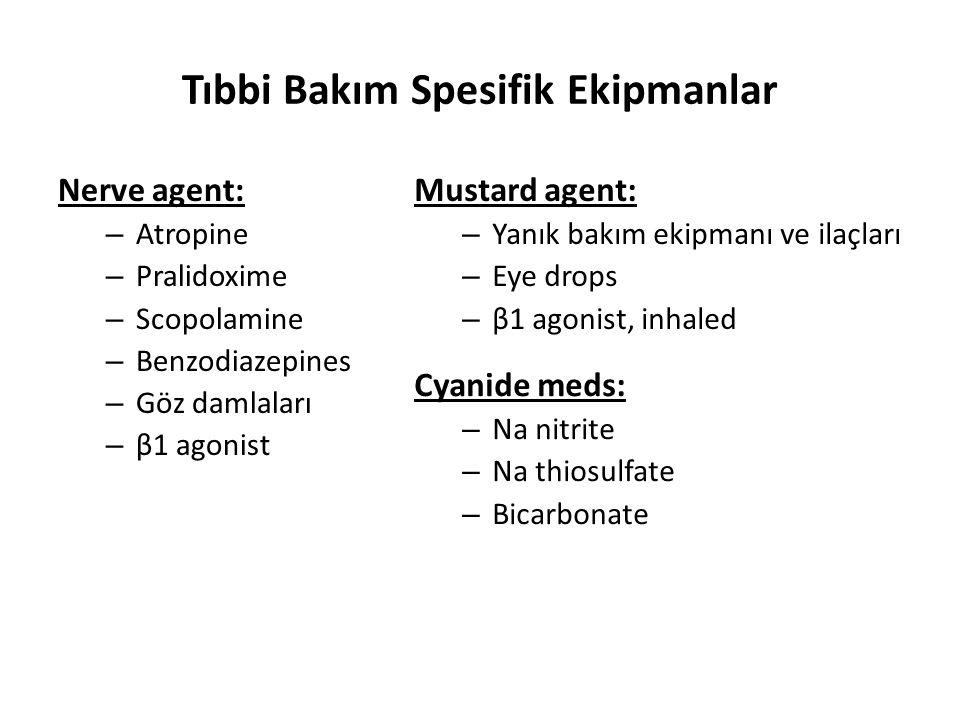 Tıbbi Bakım Spesifik Ekipmanlar Nerve agent: – Atropine – Pralidoxime – Scopolamine – Benzodiazepines – Göz damlaları – β1 agonist Mustard agent: – Ya