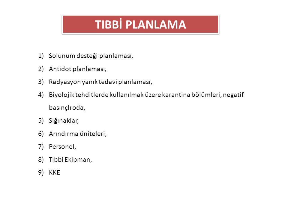 TIBBİ PLANLAMA 1)Solunum desteği planlaması, 2)Antidot planlaması, 3)Radyasyon yanık tedavi planlaması, 4)Biyolojik tehditlerde kullanılmak üzere kara