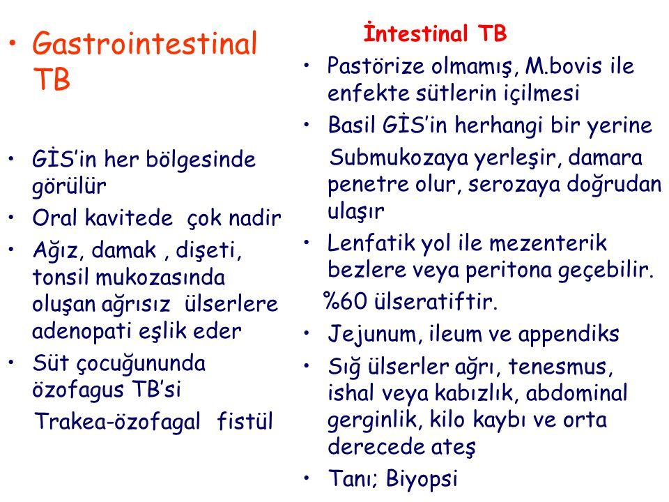 İntestinal TB Pastörize olmamış, M.bovis ile enfekte sütlerin içilmesi Basil GİS'in herhangi bir yerine Submukozaya yerleşir, damara penetre olur, serozaya doğrudan ulaşır Lenfatik yol ile mezenterik bezlere veya peritona geçebilir.