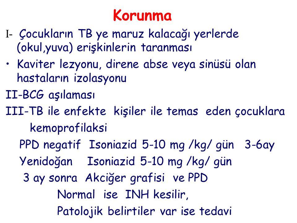 Korunma I- Çocukların TB ye maruz kalacağı yerlerde (okul,yuva) erişkinlerin taranması Kaviter lezyonu, direne abse veya sinüsü olan hastaların izolasyonu II-BCG aşılaması III-TB ile enfekte kişiler ile temas eden çocuklara kemoprofilaksi PPD negatif Isoniazid 5-10 mg /kg/ gün 3-6ay Yenidoğan Isoniazid 5-10 mg /kg/ gün 3 ay sonra Akciğer grafisi ve PPD Normal ise INH kesilir, Patolojik belirtiler var ise tedavi