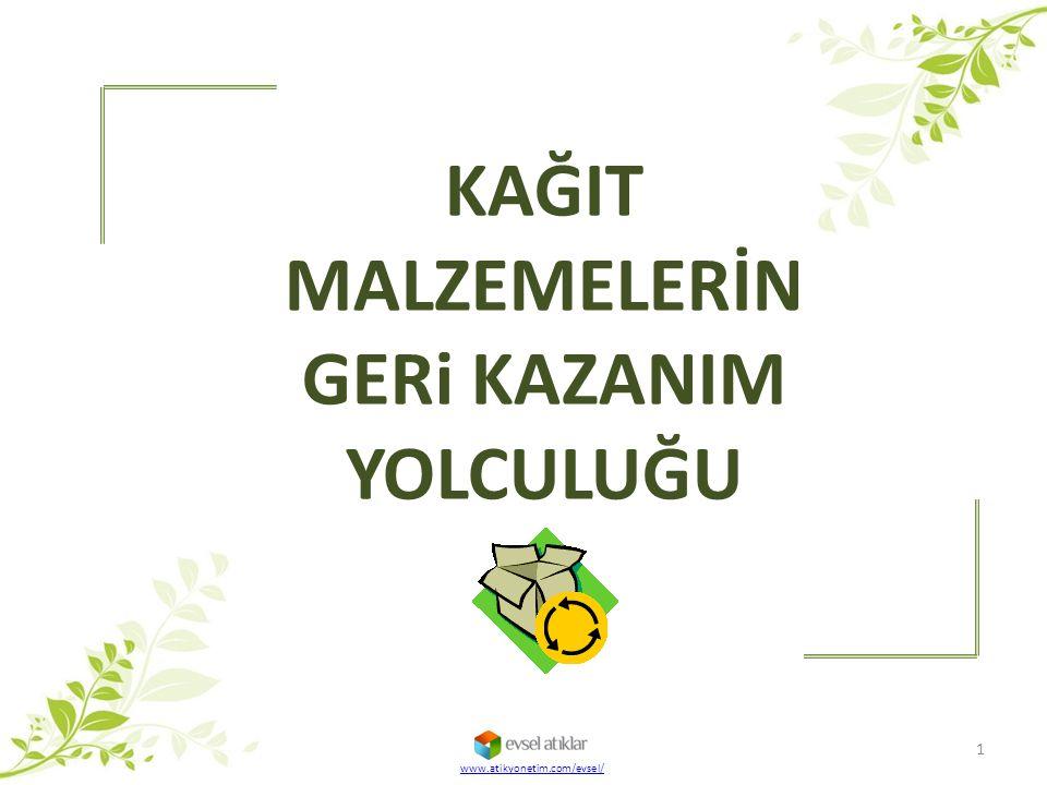 KAĞIT MALZEMELERİN GERi KAZANIM YOLCULUĞU www.atikyonetim.com/evsel/ 1