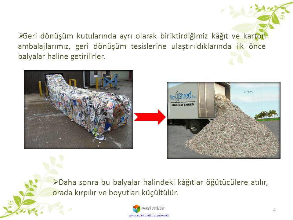  Geri dönüşüm kutularında ayrı olarak biriktirdiğimiz kâğıt ve karton ambalajlarımız, geri dönüşüm tesislerine ulaştırıldıklarında ilk önce balyalar