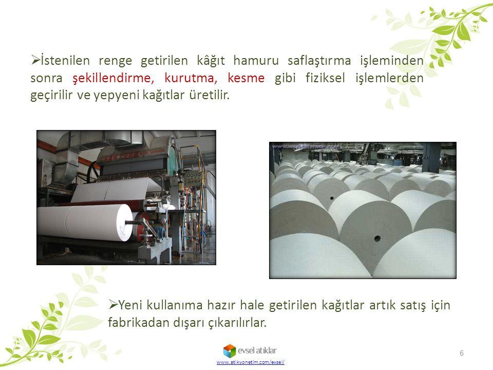  İstenilen renge getirilen kâğıt hamuru saflaştırma işleminden sonra şekillendirme, kurutma, kesme gibi fiziksel işlemlerden geçirilir ve yepyeni kağ