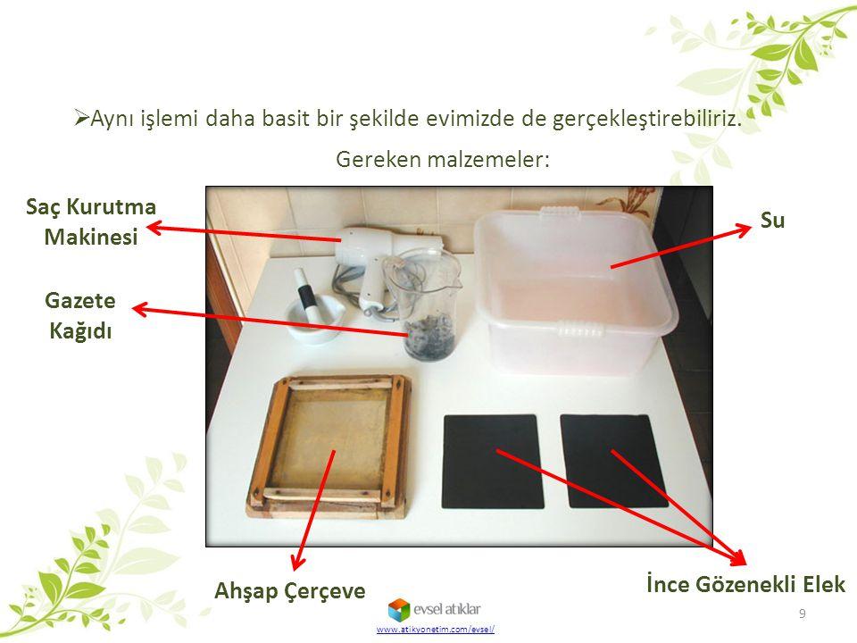  Aynı işlemi daha basit bir şekilde evimizde de gerçekleştirebiliriz. Ahşap Çerçeve 9 Gereken malzemeler: Su Gazete Kağıdı Saç Kurutma Makinesi İnce