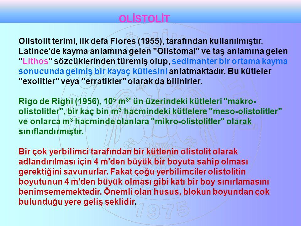 Olistolit terimi, ilk defa Flores (1955), tarafından kullanılmıştır.