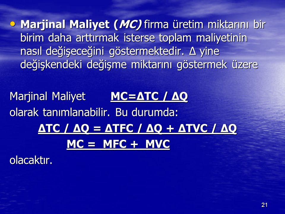 Marjinal Maliyet (MC) firma üretim miktarını bir birim daha arttırmak isterse toplam maliyetinin nasıl değişeceğini göstermektedir.