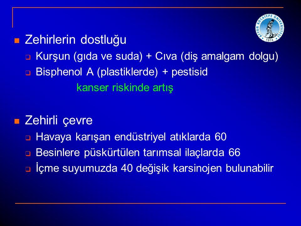 Zehirlerin dostluğu  Kurşun (gıda ve suda) + Cıva (diş amalgam dolgu)  Bisphenol A (plastiklerde) + pestisid kanser riskinde artış Zehirli çevre  H