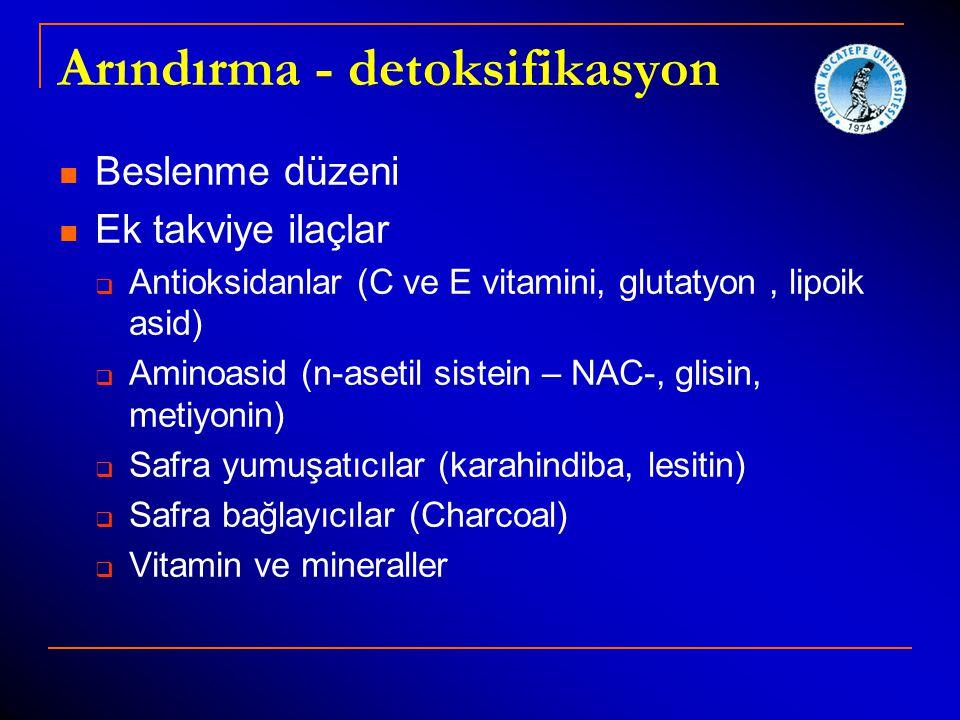 Arındırma - detoksifikasyon Beslenme düzeni Ek takviye ilaçlar  Antioksidanlar (C ve E vitamini, glutatyon, lipoik asid)  Aminoasid (n-asetil sistei