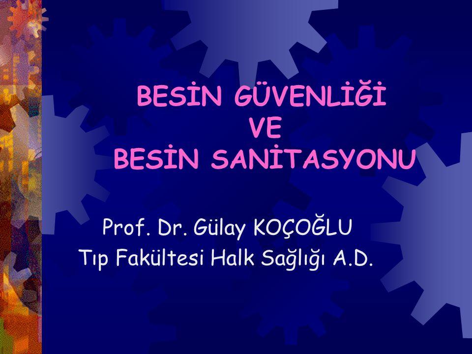 BESİN GÜVENLİĞİ VE BESİN SANİTASYONU Prof. Dr. Gülay KOÇOĞLU Tıp Fakültesi Halk Sağlığı A.D.