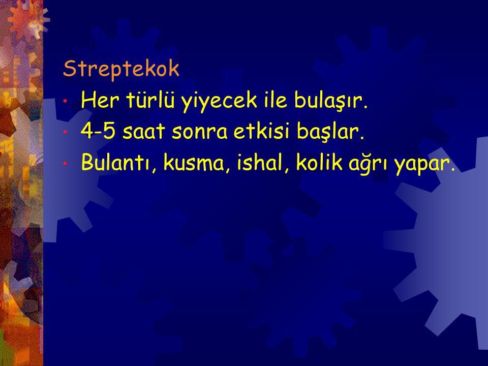 Streptekok Her türlü yiyecek ile bulaşır.4-5 saat sonra etkisi başlar.