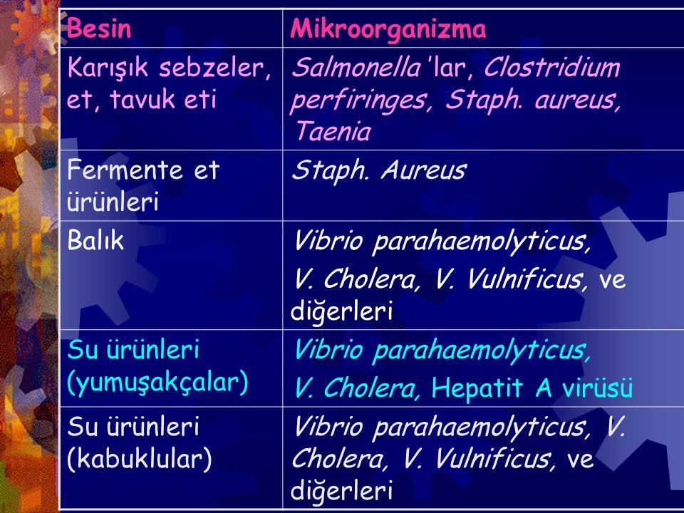 BesinMikroorganizma Karışık sebzeler, et, tavuk eti Salmonella 'lar, Clostridium perfiringes, Staph.