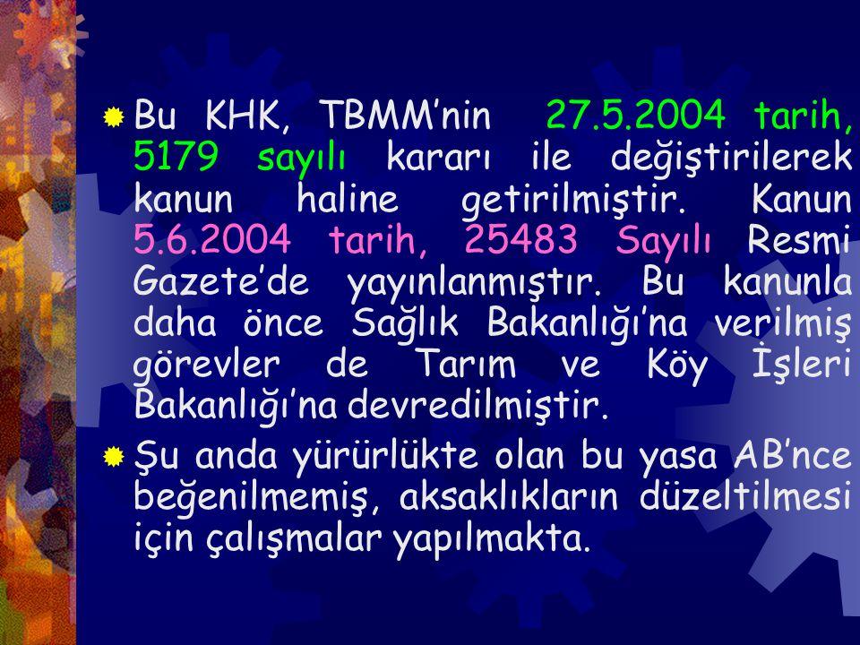  Bu KHK, TBMM'nin 27.5.2004 tarih, 5179 sayılı kararı ile değiştirilerek kanun haline getirilmiştir.