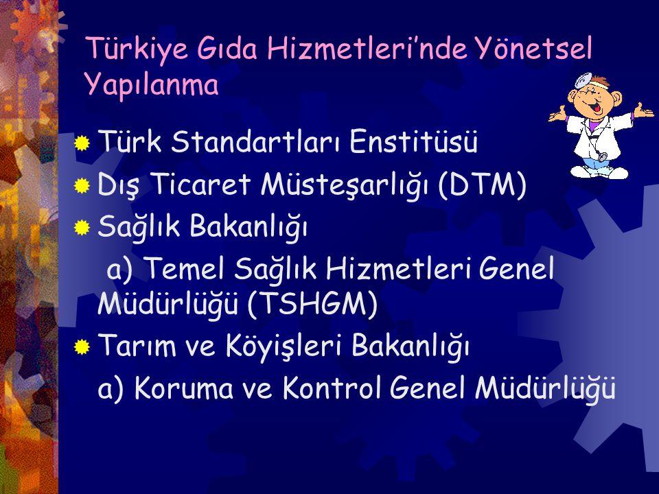 Türkiye Gıda Hizmetleri'nde Yönetsel Yapılanma  Türk Standartları Enstitüsü  Dış Ticaret Müsteşarlığı (DTM)  Sağlık Bakanlığı a) Temel Sağlık Hizmetleri Genel Müdürlüğü (TSHGM)  Tarım ve Köyişleri Bakanlığı a) Koruma ve Kontrol Genel Müdürlüğü