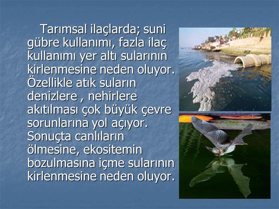 Tarımsal ilaçlarda; suni gübre kullanımı, fazla ilaç kullanımı yer altı sularının kirlenmesine neden oluyor. Özellikle atık suların denizlere, nehirle