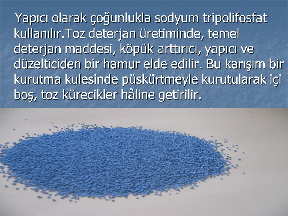 Yapıcı olarak çoğunlukla sodyum tripolifosfat kullanılır.Toz deterjan üretiminde, temel deterjan maddesi, köpük arttırıcı, yapıcı ve düzelticiden bir