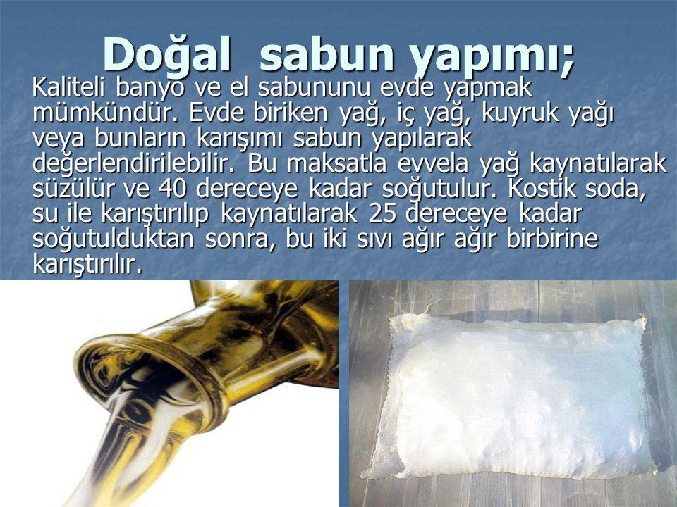 Doğal sabun yapımı; Kaliteli banyo ve el sabununu evde yapmak mümkündür. Evde biriken yağ, iç yağ, kuyruk yağı veya bunların karışımı sabun yapılarak