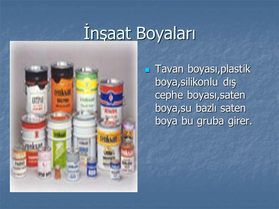 İnşaat Boyaları Tavan boyası,plastik boya,silikonlu dış cephe boyası,saten boya,su bazlı saten boya bu gruba girer. Tavan boyası,plastik boya,silikonl