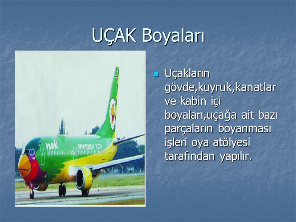 UÇAK Boyaları Uçakların gövde,kuyruk,kanatlar ve kabin içi boyaları,uçağa ait bazı parçaların boyanması işleri oya atölyesi tarafından yapılır. Uçakla