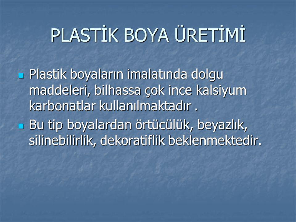 PLASTİK BOYA ÜRETİMİ Plastik boyaların imalatında dolgu maddeleri, bilhassa çok ince kalsiyum karbonatlar kullanılmaktadır. Plastik boyaların imalatın