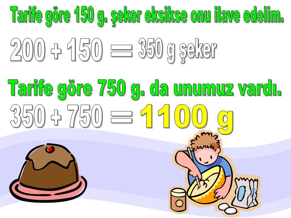 Kek yapıyorum. 750 gram un, 200 gram şeker koydum. Ama tarife göre şekeri 150 gram eksik koymuşum. Tarife göre toplam kaç gram un ve şeker koymalıyım?