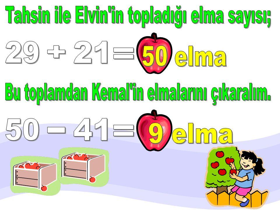 Kemal 41 elma, Tahsin 29 elma, Eray 21 elma topladı. Tahsin ile Eray, Kemal'den kaç elma fazla toplamıştır?