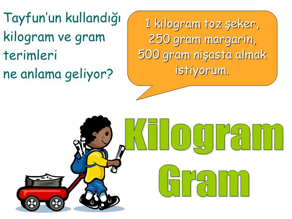 1 kilogram toz şeker, 250 gram margarin, 500 gram nişasta almak istiyorum. Tayfun annesinin siparişlerini almak için markete geliyor.