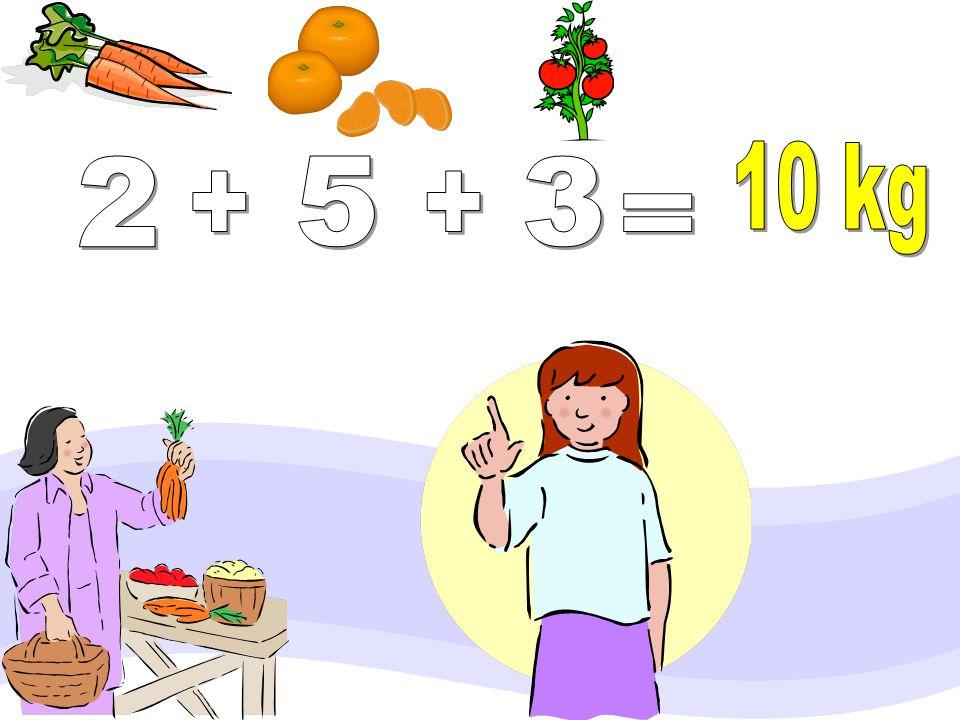 Annem manavdan 2 kg. havuç, 5 kg. mandalina ve 3 kg. domates almış. Pazardan aldığı toplam malzeme kaç kg?