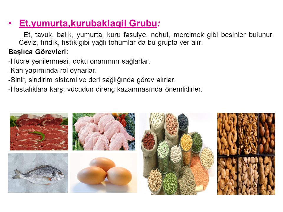 Et,yumurta,kurubaklagil Grubu: Et, tavuk, balık, yumurta, kuru fasulye, nohut, mercimek gibi besinler bulunur. Ceviz, fındık, fıstık gibi yağlı tohuml